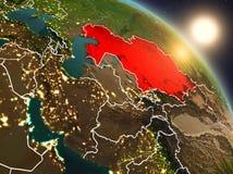 Kazachstan van ruimte tijdens zonsopgang Stock Afbeeldingen