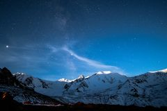 Look at the stars in the mountains stock images