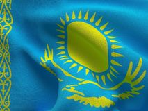 Kazahstan flag on a fabric basis. Illustration of a Kazahstan flag on a fabric basis Royalty Free Stock Images