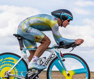 The Kazak cyclist Vinokourov Alexandre. Beaurouvre,France,21st 2012:The Kazakh cyclist Vinokourov Alexandre from Astana Pro Team pedaling during the 19th stage Stock Photo