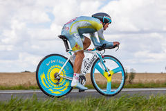 The Kazak cyclist Vinokourov Alexandre. Beaurouvre,France,21st 2012:The Kazakh cyclist Vinokourov Alexandre from Astana Pro Team pedaling during the 19th stage Royalty Free Stock Images