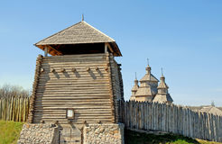 Kazak fortress,Khortitsa,Zaporizhzhya,Ukraine. Reconstruction of an old Kazak fortress on Khortitsa island on Dniper river, Zaporizhzhya, Ukraine Stock Photo