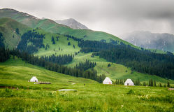 Kazak yurt on the plateau, meadow Royalty Free Stock Images