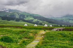 Kazak yurt on the plateau, meadow Stock Images