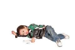Kazakh baby tired Stock Photo