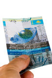Kazakh banknote of 500 tenge in the hand Royalty Free Stock Photo