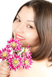 Kazakh  beautiful woman with flowers Royalty Free Stock Photos