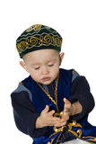 Kazakh boy. Clothed on the traditional costume Stock Images
