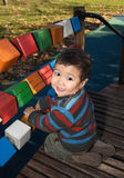 Kazakh boy playing Stock Photo