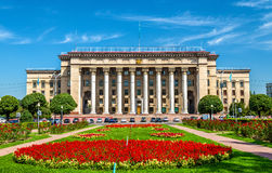 Kazakh-British technical University in Almaty, Kazakhstan. Former government house. The building of the Kazakh-British technical University in Almaty royalty free stock images