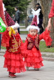 Kazakh children in national clothes Royalty Free Stock Photo