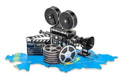 Kazakh cinematography, film industry concept. 3D rendering. Isolated on white background Stock Photography