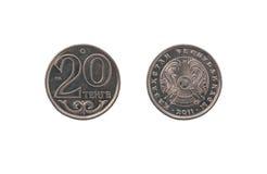 Kazakh coin twenty tenge. Isolated on white background Stock Photos