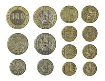 Kazakh coins in a row Stock Photo