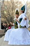 Kazakh dancers in national clothes Royalty Free Stock Photography