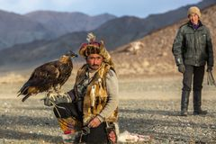 Kazakh Eagle Hunter Berkutchi with horse while hunting to the hare with a golden eagles on his arms. SAGSAY, MONGOLIA - SEP 28, 2017: Kazakh Eagle Hunter Royalty Free Stock Photos
