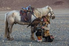 Kazakh Eagle Hunter Berkutchi with horse teaches his daughter to hunting to the hare with a golden eagles. SAGSAY, MONGOLIA - SEP 28, 2017: Kazakh Eagle Hunter Royalty Free Stock Photography