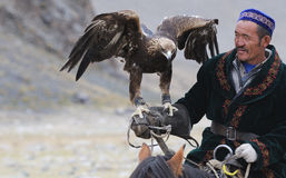 Kazakh Eagle Hunter close-up Stock Image