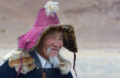 Kazakh Eagle Hunter portrait Stock Photos