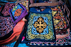 Kazakh ethnic bags in the market Stock Images
