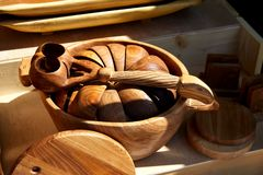 Ethnic wooden utensils Royalty Free Stock Images
