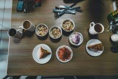 Kazakh family at breakfast in restaurant royalty free stock photos