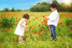 Kazakh little boy and girl together playing royalty free stock images