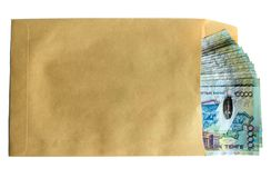Kazakh money in envelope Royalty Free Stock Photography