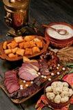 Kazakh nationaal dastarkhan voedsel, traditie van gastvrijheid royalty-vrije stock afbeeldingen