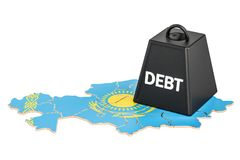 Kazakh national debt or budget deficit, financial crisis concept. 3D Royalty Free Stock Photos