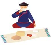 Kazakh pendant le déjeuner illustration stock