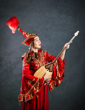 Kazakh woman with dombra Royalty Free Stock Photos