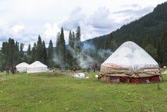 Kazakh yurt camp in Meadow of Xinjiang, China Stock Photos