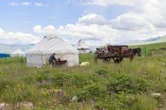 Kazakh yurt camp in Meadow of Xinjiang, China Stock Photography