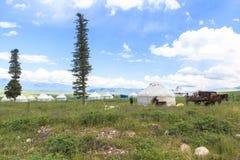 Kazakh yurt camp in Meadow of Xinjiang, China Stock Image