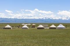 Kazakh yurt camp in Meadow of Xinjiang, China. This photo is taken in Xinjiang, China. This is Kazakh yurt camp in Meadow of Xinjiang, China royalty free stock image