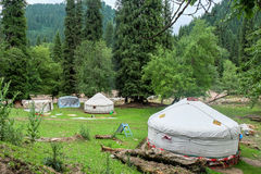 Kazakh yurt camp in Meadow of Xinjiang, China Royalty Free Stock Photos