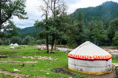 Kazakh yurt camp in Meadow of Xinjiang, China Stock Photos