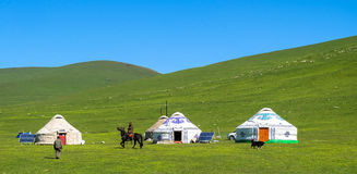 Kazakh yurt camp in Meadow of Xinjiang, China stock photo