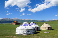 Kazakh yurt camp in Meadow of Xinjiang, China Royalty Free Stock Photography