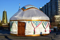 Kazakh yurt covered with white silk Stock Image