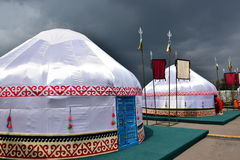 Kazakh yurt covered with white silk Stock Images