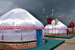 Kazakh yurt covered with white silk Stock Photo