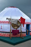 Kazakh yurt covered with white silk Royalty Free Stock Images