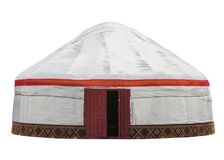 Kazakh yurt isolated. On white with Clipping Path royalty free stock photography