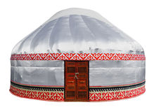 Kazakh yurt isolated. On white with Clipping Path Stock Photo