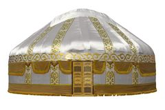 Kazakh yurt isolated. On white with Clipping Path royalty free stock photos