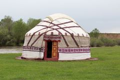 Kazakh yurt. In the park in nature stock image