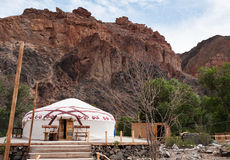 Kazakh yurt. In Sharyn Canyon.  Sharyn Canyon is an 80 km canyon on the Sharyn River, 200 kilometres east of Almaty. Kazakhstan Royalty Free Stock Photography
