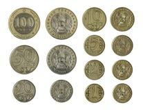 Kazakhmünzen in einer Reihe Stockfoto